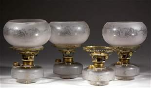 ENGRAVED GLASS KEROSENE BRACKET LAMPS, LOT OF FOUR