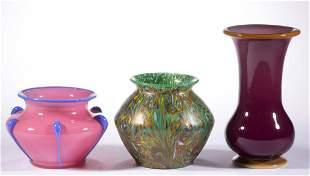 ASSORTED CZECH ART GLASS VASES, LOT OF THREE