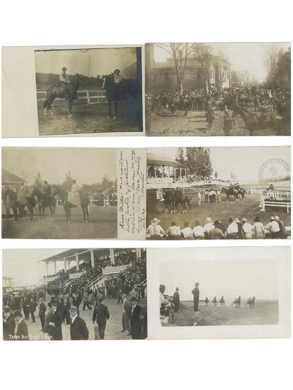 16: HORSE RACING REAL PHOTO POST CARDS, LOT OF SIX