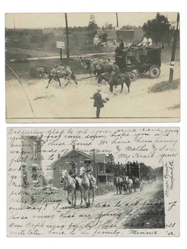 18: CIRCUS PARADE REAL PHOTO POST CARDS, LOT OF TWO