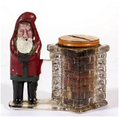 SANTA CLAUS BY SQUARE CHIMNEY GLASS CANDY CONTAINER