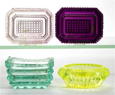 ASSORTED PRESSED GLASS OPEN SALTS, LOT OF FOUR