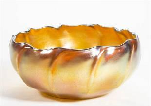 TIFFANY FAVRILE RIBBED ART GLASS BOWL