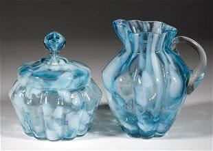 VICTORIAN SPATTER GLASS ARTICLES, LOT OF TWO