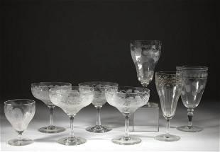 ASSORTED LOCKE ART GLASS DRINKING ARTICLES, LOT OF