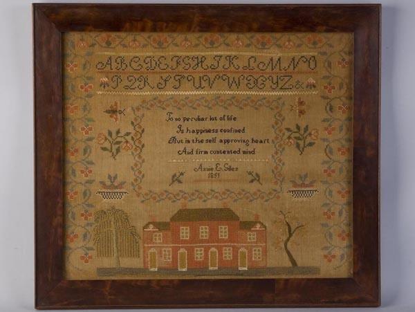 247: ANNIE E. GILES, 1851 MID-ATLANTIC NEEDLEWORK SAMPL