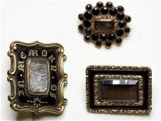 514: VICTORIAN HAIR-WORK MOURNING BROOCHES, LOT OF THRE