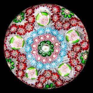 ANTIQUE CLICHY GARLAND MILLEFIORI ART GLASS PAPERWEIGHT