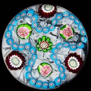 ANTIQUE CLICHY TREFOIL MILLEFIORI ART GLASS PAPERWEIGHT