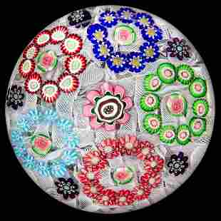ANTIQUE CLICHY FIVE-RONDEL MILLEFIORI ART GLASS