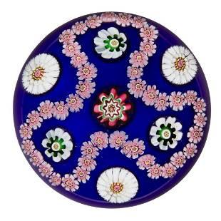 ANTIQUE CLICHY TREFOIL GARLAND MILLEFIORI ART GLASS
