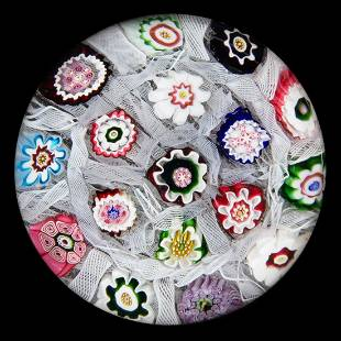 ANTIQUE CLICHY CHEQUER MILLEFIORI ART GLASS PAPERWEIGHT