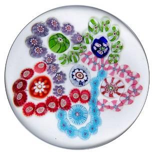 ANTIQUE CLICHY INTERLACED TREFOILS MILLEFIORI ART GLASS