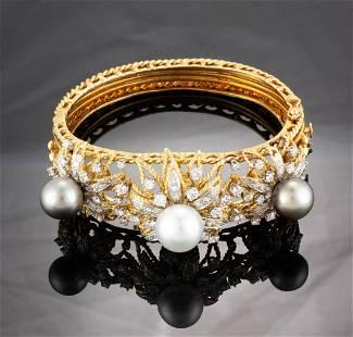VINTAGE VAN GOGH 14K-18K YELLOW GOLD, DIAMOND, AND