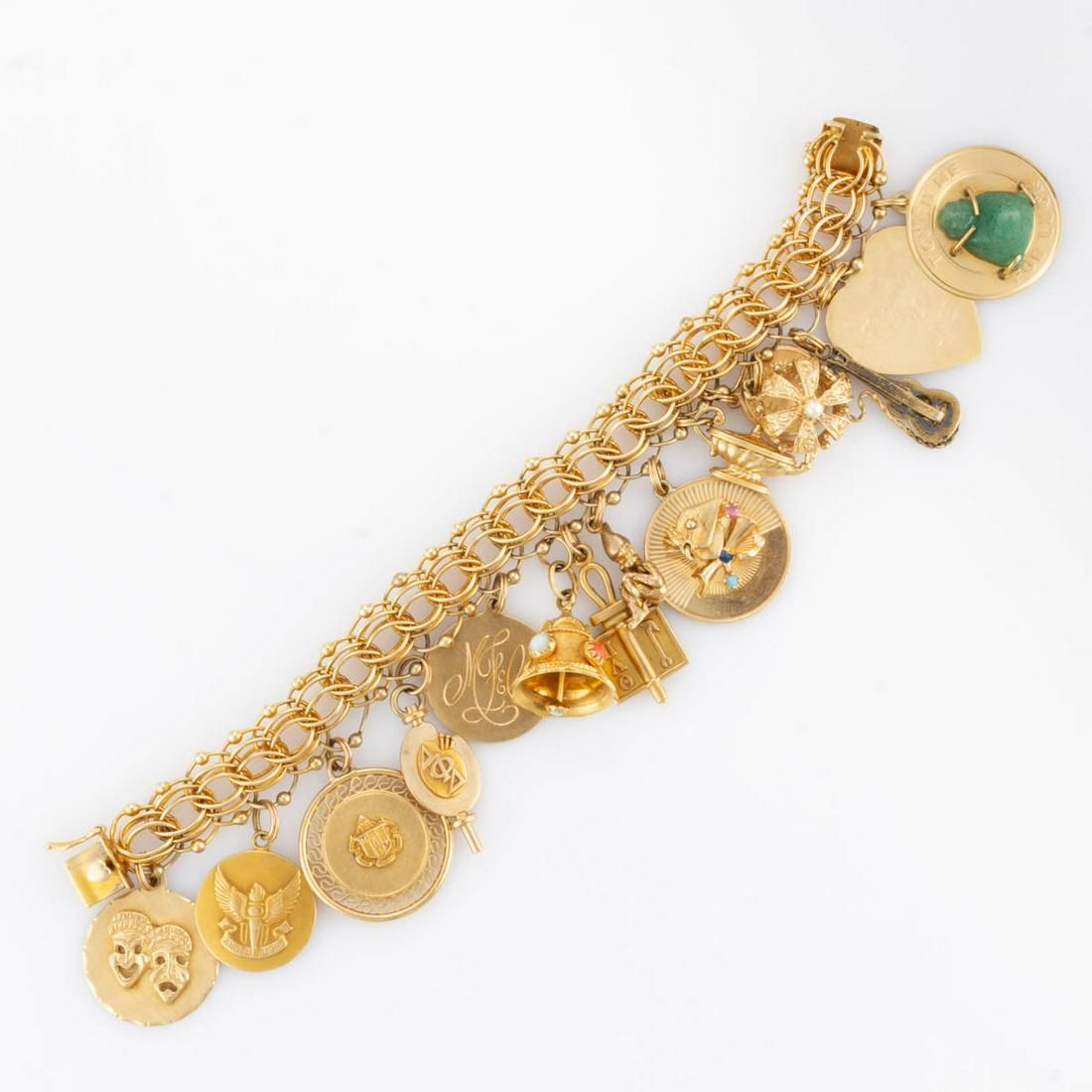 VINTAGE 14K YELLOW GOLD CHARM BRACELET WITH 14K AND