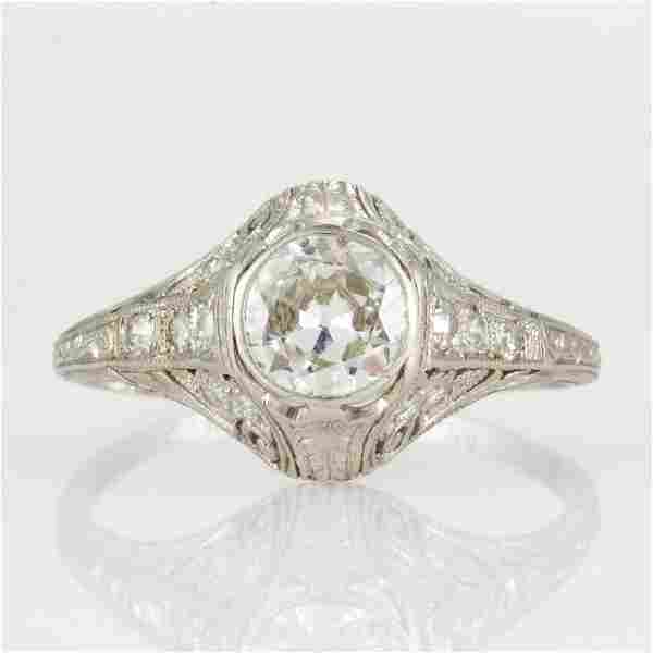 ART DECO PLATINUM AND 0.65 CT DIAMOND LADY'S RING