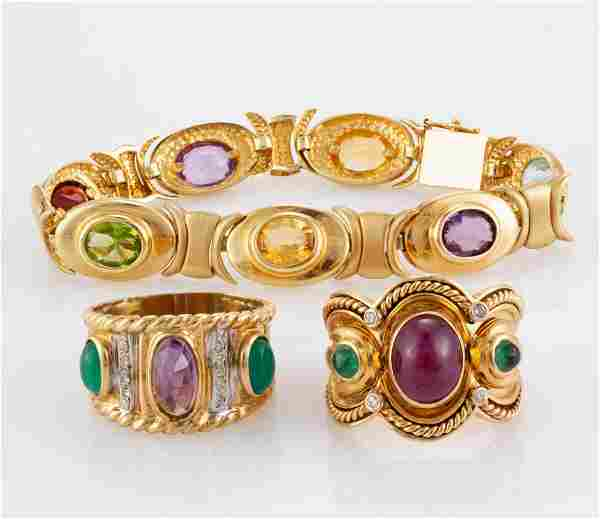 VINTAGE / CONTEMPORARY 14K YELLOW GOLD AND GEMSTONE