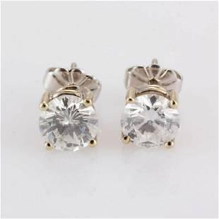 VINTAGE 14K WHITE GOLD AND 1.69 CTW DIAMOND STUD
