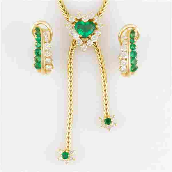 VINTAGE 18K YELLOW GOLD, DIAMOND, AND EMERALD NECKLACE