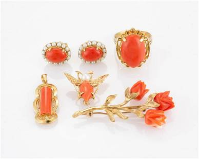 VINTAGE 14K YELLOW GOLD AND CORAL JEWELRY, LOT OF SIX