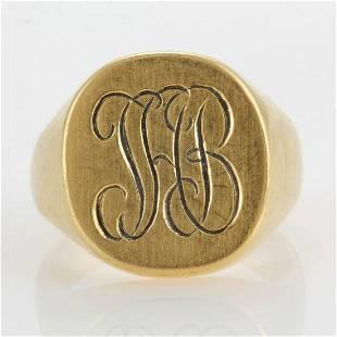 VINTAGE TIFFANY & CO. 18K YELLOW GOLD MAN'S SIGNET RING
