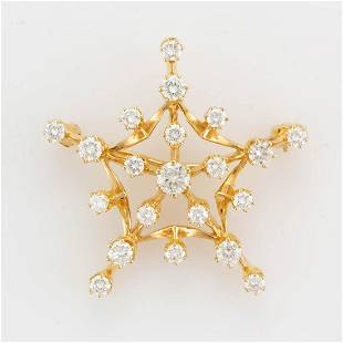 ANTIQUE-STYLE 14K YELLOW GOLD AND DIAMOND STAR PIN /