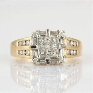 VINTAGE / CONTEMPORARY 14K GOLD AND DIAMOND LADY'S RING