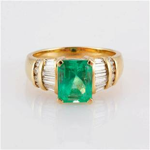 VINTAGE 14K YELLOW GOLD, DIAMOND, AND EMERALD RING