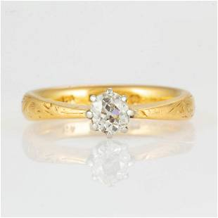 VINTAGE ENGLISH 22K YELLOW GOLD AND DIAMOND LADY'S RING