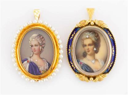 VINTAGE 14K-18K YELLOW GOLD PORTRAIT BROOCHES /