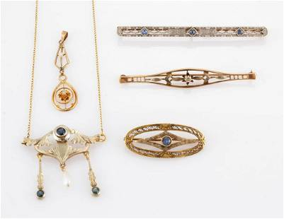 ANTIQUE / VINTAGE 10K AND 14K GOLD AND STONE JEWELRY,