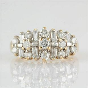 CONTEMPORARY 14K YELLOW GOLD AND DIAMOND LADY'S RING