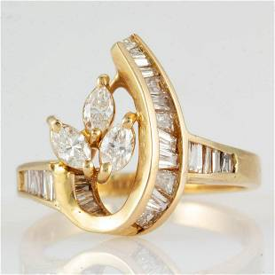 VINTAGE / CONTEMPORARY 18K YELLOW GOLD AND DIAMOND