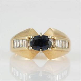 VINTAGE 14K YELLOW GOLD, SAPPHIRE, AND DIAMOND LADY'S