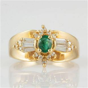 VINTAGE / CONTEMPORARY 14K YELLOW GOLD, EMERALD, AND