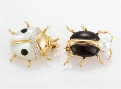 VINTAGE / CONTEMPORARY 14K YELLOW GOLD FIGURAL BUG PINS