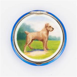 GERMAN GUILLOCHE ENAMELED STERLING SILVER COMPACT