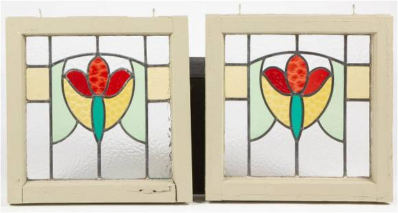 PAIR OF LEADED- AND STAINED-GLASS WINDOW PANES