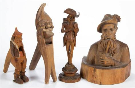 BLACK FOREST CARVED FIGURAL ARTICLES, LOT OF FOUR