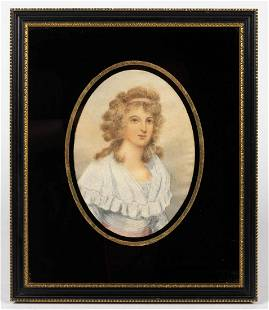 AMERICAN / BRITISH SILK-EMBROIDERED PORTRAIT OF A WOMAN