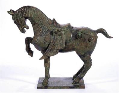 CHINESE TANG-STYLE BRONZE HORSE SCULPTURE