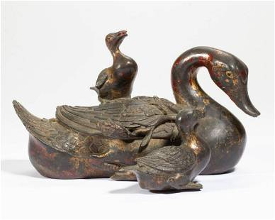 CHINESE BRONZE DUCK FIGURAL GROUP