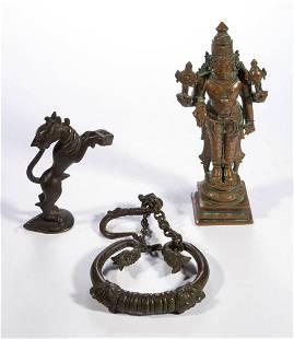 ASIAN CAST-METAL ARTICLES, LOT OF THREE