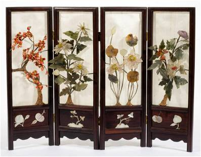 CHINESE CARVED GEM STONES AND TEAK FOLDING TABLE SCREEN