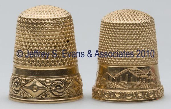 20: HENRY MUHR & SONS 14K GOLD THIMBLES, LOT OF TWO