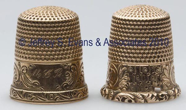 23: KETCHAM & MCDOUGALL 12K GOLD THIMBLES, LOT OF TWO