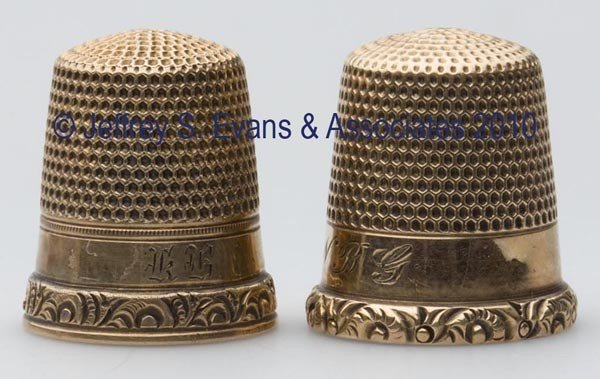 24: KETCHAM & MCDOUGALL 10K GOLD THIMBLES, LOT OF TWO