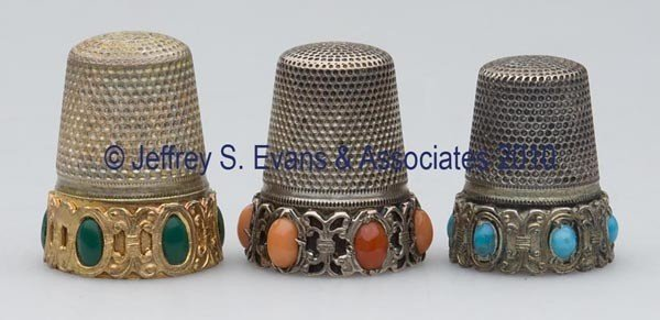 137: GERMAN SILVER WITH STONE THIMBLES, LOT OF THREE