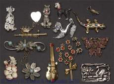 461: ASSORTED LOT OF VINTAGE FIGURAL COSTUME BROOCHES
