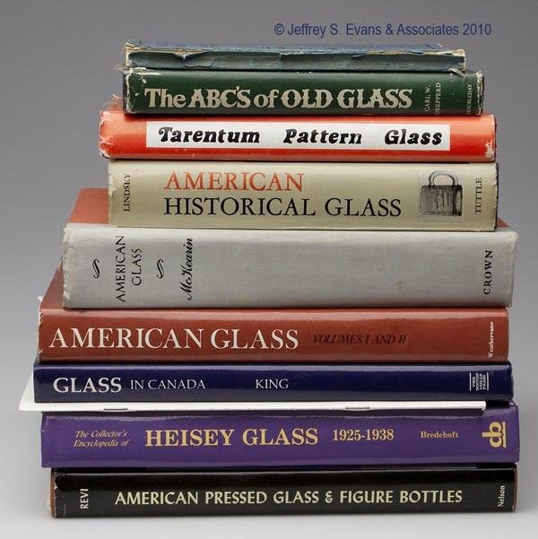 7: PRESSED GLASS REFERENCE VOLUMES, LOT OF TEN